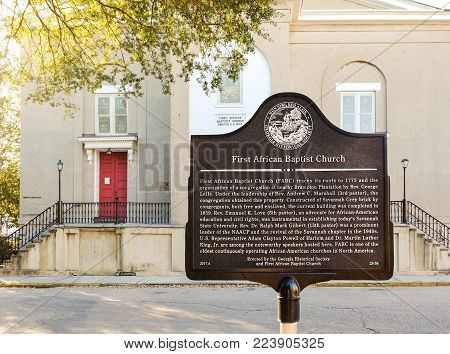 SAVANNAH, GEORGIA, USA - OCTOBER 31, 2017: Historical marker of the First African Baptist Church in the Heart of Historic Downtown Savannah, Georgia
