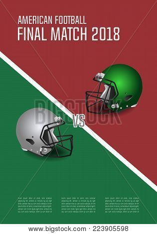 American Football Final Match Concept. Silver And Green Helmets On Field With Spotlight Background.