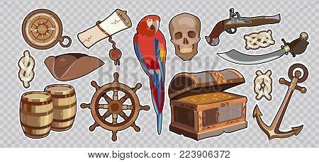 Treasure chest parrot steering wheel skull rum saber pirate hat, pirate stickers. Pirate vintage elements. Sea adventure stories set