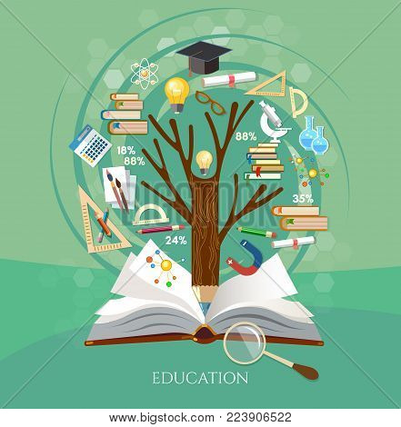 Education, tree of knowledge and open book, effective modern education template design. Back to school vector concept