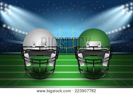 American football final match concept. Silver and green Helmets on field of stadium with spotlight background. Vector Illustration.