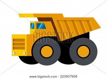 Mining dump truck minimalistic icon isolated. Construction equipment isolated vector. Heavy equipment vehicle. Color icon illustration on white background.