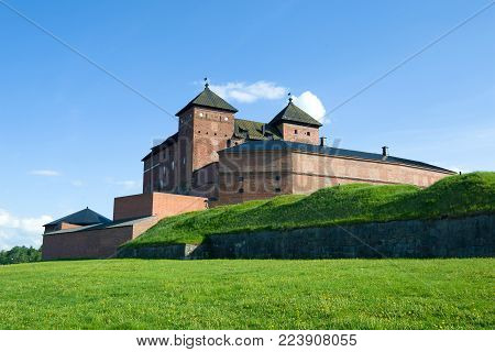 At the bottom of Hameenlinna fortress  in the sunny June afternoon. Finland