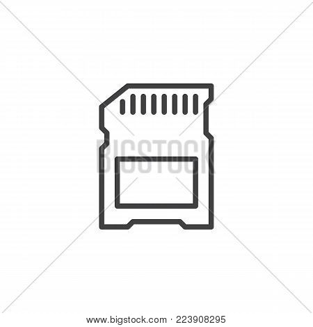SD card line icon, outline vector sign, linear style pictogram isolated on white. Memory card symbol, logo illustration. Editable stroke
