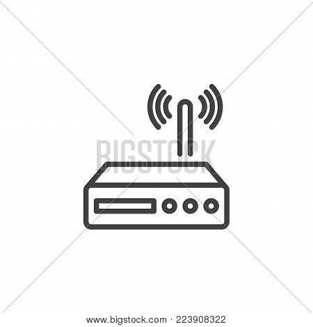 Wi-fi router line icon, outline vector sign, linear style pictogram isolated on white. Wireless modem symbol, logo illustration. Editable stroke