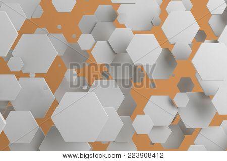 White Hexagons Of Random Size On Orange Background