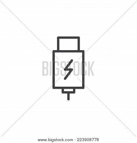 USB charging plug line icon, outline vector sign, linear style pictogram isolated on white. Symbol, logo illustration. Editable stroke