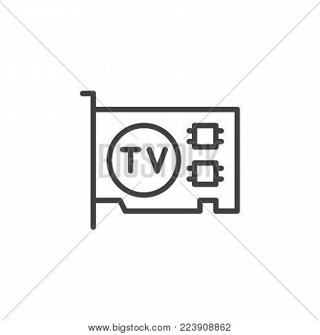 Computer video card line icon, outline vector sign, linear style pictogram isolated on white. TV tuner pcie card symbol, logo illustration. Editable stroke