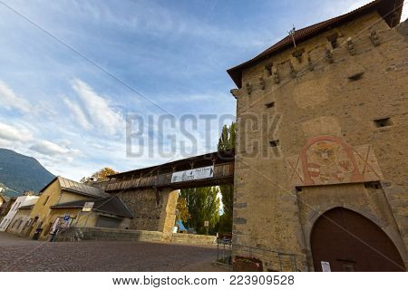 SOUTH TYROL, ITALY - SEPTEMBER 28, 2017 : Existing city wall built by Emperor Maximilian in 16th century as defensive walls against Swiss incursions in Glurns, South Tyrol, Italy on September 28, 2017