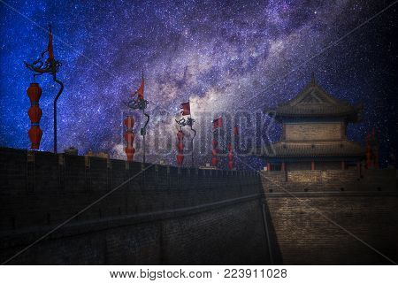 Night Landscape Of The Starry Sky.