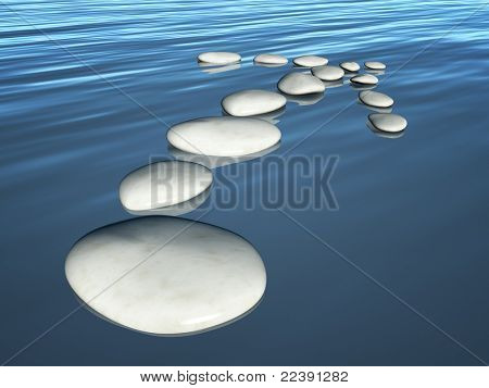 An image of some step stones arrow