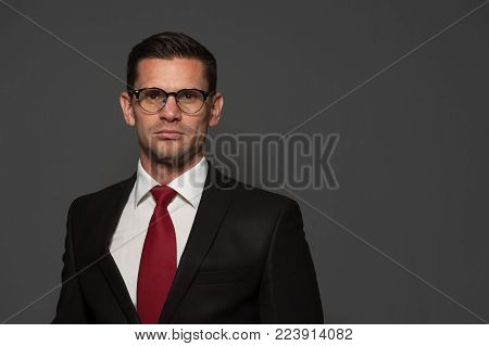 Portrait of positive businessman in formal attire and glasses looking at the camera on gray background. Copyspace
