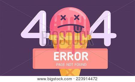 404  ice-cream error page not found  flat vector graphic background
