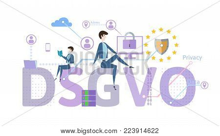 General Data Protection Regulation. GDPR, called DSGVO in German. Concept vector illustration. The protection of personal data. Isolated on white background.