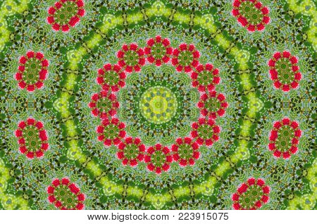 Abstract Background Of Floral Pattern Of A Kaleidoscope