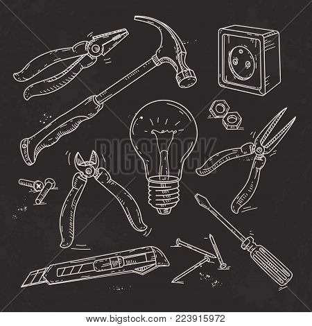 Vector illustration, hand sketch icons set of carpentry tools, lamp, pliers and a hammer drawn on black background