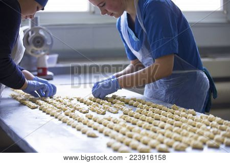 Belarus, the city of Gomel, January 22, 2017. Culinary shop for baking bakery products and desserts.Culinary production.Industrial production of cookies and culinary products.