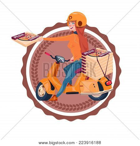Woman Deliver Pizza Riding Retro Scooter Restaurant Food Delivery Icon Isolated Template Logo Flat Vector Illustration