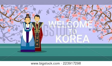 Travel To South Korea Banner, Happy Korean Coupe Wearing Raditional Costumes Over Sakura Tree Blossom Flat Vector Illustration