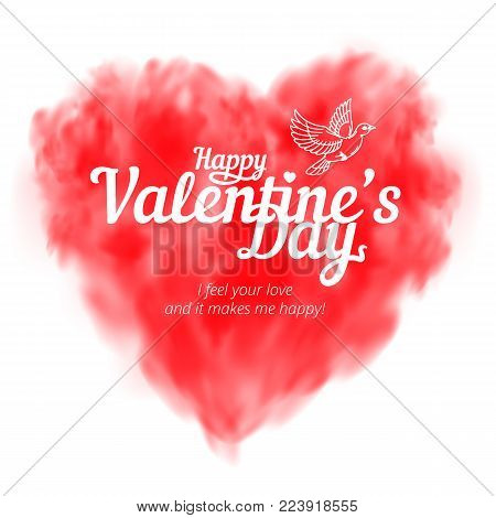 Vector Red Heart Consisting Of Fog Or Smoke With Lettering To Happy Valentine's Day Isolated On Whit