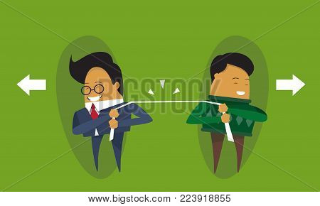 Two Businessmen Pulling Rope Business Competition Concept Flat Vector Illustration