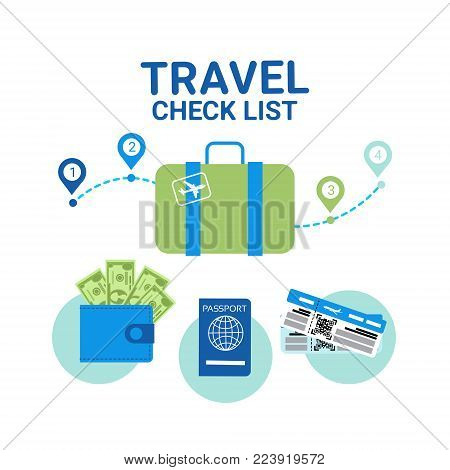 Travel Check List Icons Template Banner Vacancy Planning Concept Flat Vector Illustration