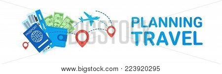 Travellling Planning Template Horizontal Banner Background Travel Icons Airplane Passport And Tickets Flat Vector Illustration