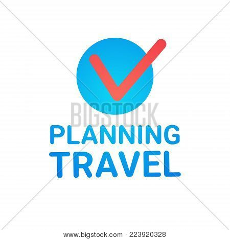 Planning Travel Icon Isolated Vacation Route Tickets Booking Concept Flat Vector Illustration