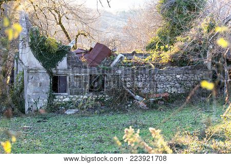 Sukhumi, Abkhazia, January 2, 2017. Ruined and abandoned building with a collapsed roof in a thicket of blackberries and other vegetation.
