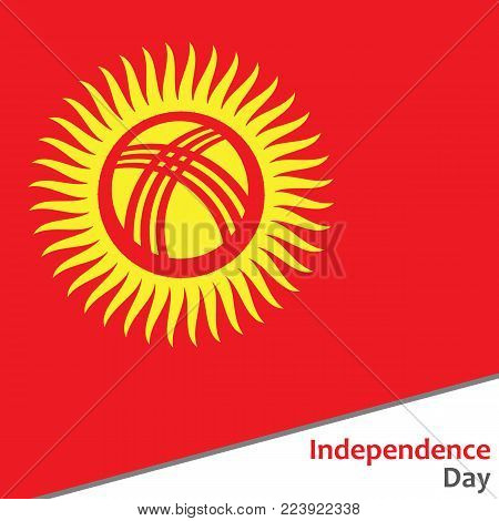 Kyrgyzstan independence day with flag vector illustration for web