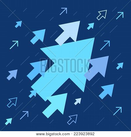 Up arrows, many different styles, success metaphor, illustration vector