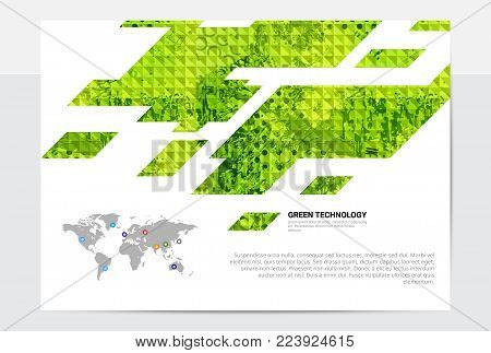 Stylish fresh spring design graphic template, business composition with diagonal shapes and inforgaphics elements
