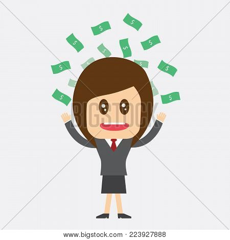 Businesswoman Salary variation, business success - vector illustration