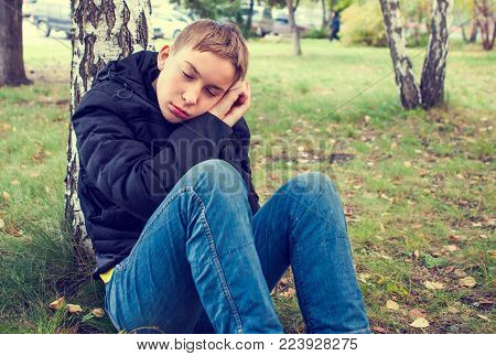 Toned Photo of Tired Teenager under Tree in the Park