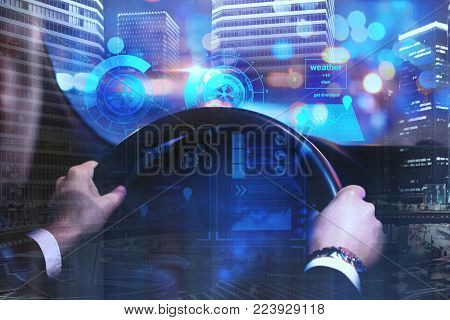 Businessman driving car with digital business interface on abstract night city background. Future and innovation concept. Double exposure