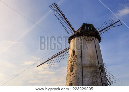 19th century white windmill, badly maintained. Aarschot - Flemish Brabant - Flanders - Belgium.