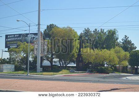 Beautiful Church On The Las Vegas Strip. Travel Holidays June 26, 2017. Las Vegas Strip, Las Vegas Nevada USA.EEUU.