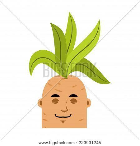 Mandrake Root Sleeping Emoji. Asleep Legendary Mystical Plant In Form Of Man.