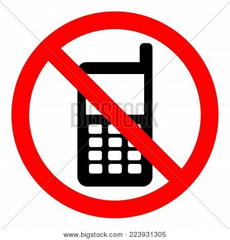NO CELL PHONEs allowed sign. Mobile phone silhouette with buttons and antenna in crossed out circle. Vector icon.