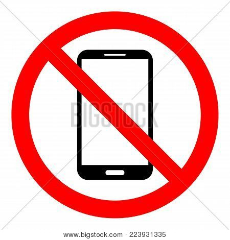 NO SMARTPHONEs allowed sign. Smart phone icon in crossed out circle. Vector.