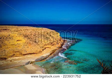 Landscape with sand Ageeba beach, Mersa Matruh, Egypt