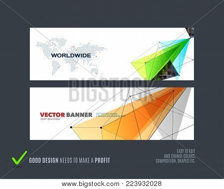 Abstract vector set of modern horizontal website banners with yellow triangles, geometric shapes, abstract lines for construction, teamwork, tech, communication. Clean web headers design.