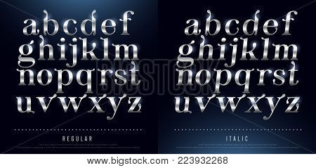 Set of Elegant silver Colored Metal Chrome alphabet lowercase font. Typography classic style silver font set for logo, Poster, Invitation. vector illustrator