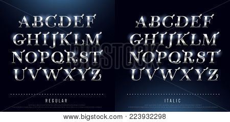 Set of Elegant silver Colored Metal Chrome alphabet uppercase font. Typography classic style silver font set for logo, Poster, Invitation. vector illustrator