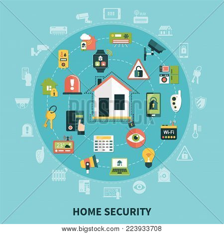Home security round composition with household appliances, control system devices, detectors on blue background  flat vector illustration