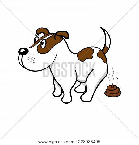 The dog defecates on a white background. Vector illustration