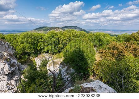 Big White Rock On Hill, Palava Czech Republic, Forest Hill And Blue Sky
