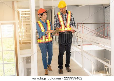Portrait of engineer inspection and construction teamwork., Indoor concept