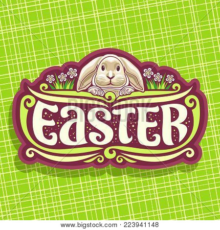 Vector logo for Easter holiday, original handwritten brush typeface for word easter, cute grey rabbit on floral background, easter cut brown label with pretty bunny and grass with spring flowers.