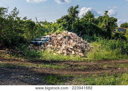 Iron Crap And Garbage Near The Green Shrub. Industrial Environment And Recyklation Of Waste. Trash A